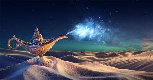 غول چراغ جادوی ذهن منتظر خدمتگزاری به شماست